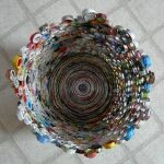 trash can made from recycled magazines