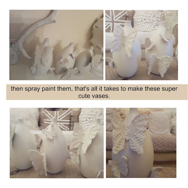doilie stamped butterfly vases DIY tutorial