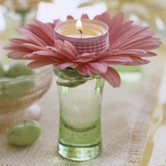 Easter flowers candle votive