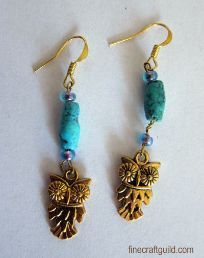 DIY Turquoise Owl Earrings