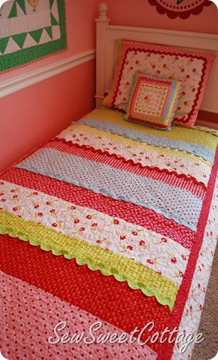 The Happiest Quilted Girls Bedcover