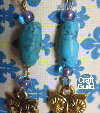 DIY Beaded Turquoise Owl Earrings - like Anthropologie  -  by FineCraftGuild.com