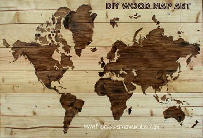 DIY wood map art - by Happier Homemaker, featured at FineCraftGuild.com