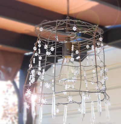 Shabby chic outdoor chandelier - by Piglogs and Taterberries, featured at FineCraftGuild.com