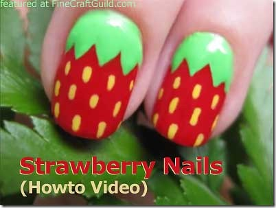 DIY strawberry nails