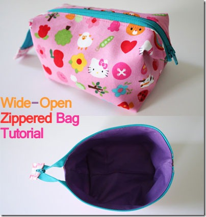 Wide Open Zippered Bags Sewing Pattern