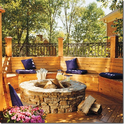 Cozy fire pit benches - Types fire pits cozy outdoor spaces ...