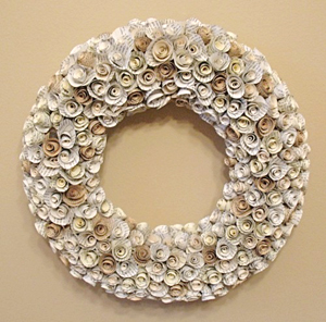 recycled book rose wreath