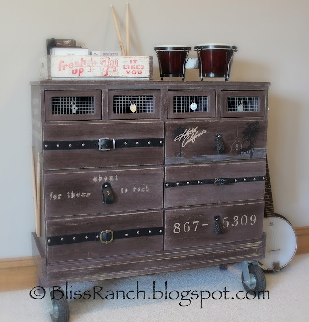 Recycled Masculine, Rock-themed Dresser