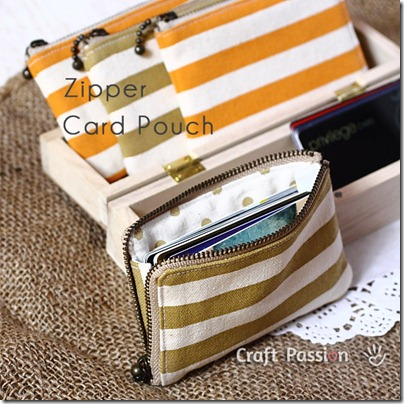 zipper credit card pouch sewing pattern