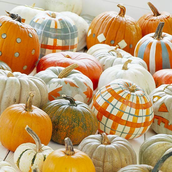 Pumpkin decorating ideas w plaids :: FineCraftGuild.com