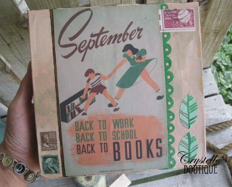 september vintage paper art