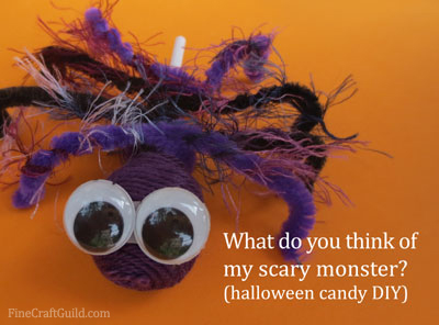 Yarn spider candy DIY Halloween project