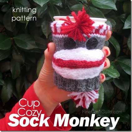 sock monkey coffee cup cozy knitting pattern