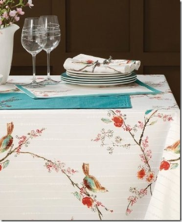 thanksgiving dinner tablecloth birds