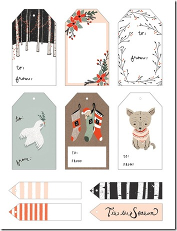 christmas gift tags birds, winter branches