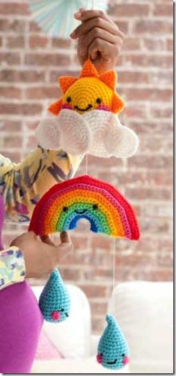 Baby Bedroom Furniture: Crochet Rainbow Mobile