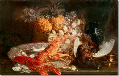 still life with fruits lobster pheasant