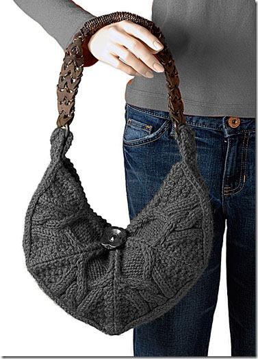 free knitting patterns :: trendy knit cable bag