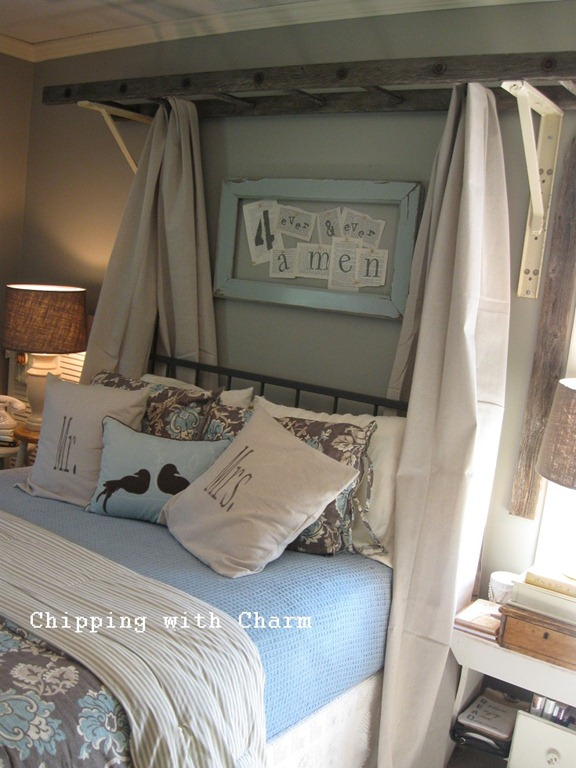 DIY Bedroom Furniture: Vintage Ladder Bed Canopy