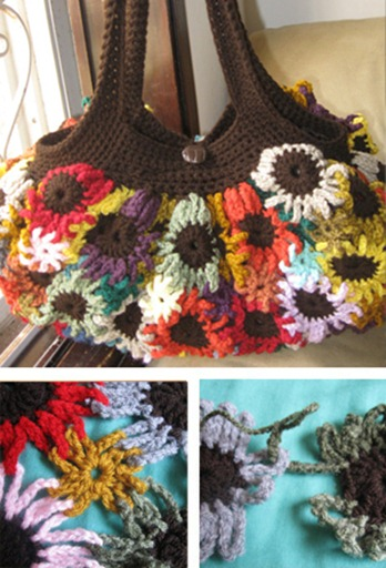 FREE crochet pattern flower bag