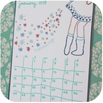 Free Calendar Embroidery Pattern