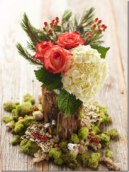roses_hydrangeas_wood_bark_vase_bhg