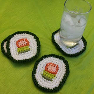 Cool Sushi Coasters :: Free Crochet Pattern