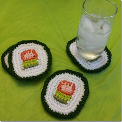 sushi coasters crochet pattern - featured on FineCraftGuild.com