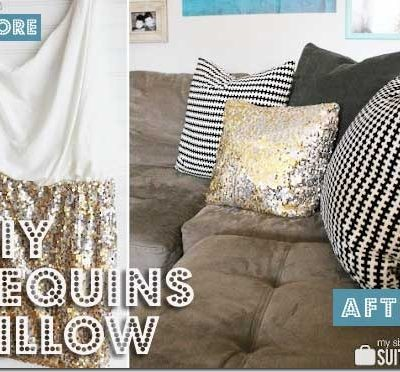 Upcycled Sequins Pillow  – So Pretty!