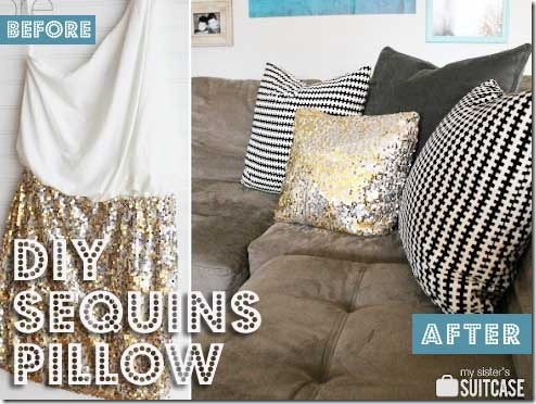 upcycled sequins pillow - easy diy project Making Decorative Pillows