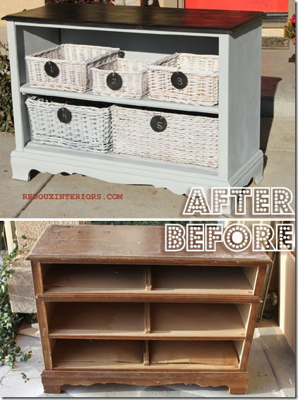DIY recycled furniture : Fabulous dressers with baskets