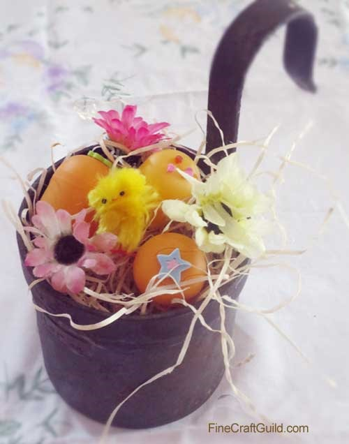 original easter craft ideas - easter flowers bouquet eggs