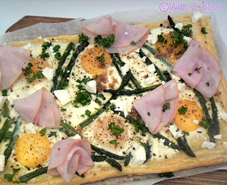 healthy recipes for brunch: Asparagus feta egg crostada