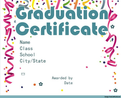 graduation certificate free printable download by FineCraftGuild.com