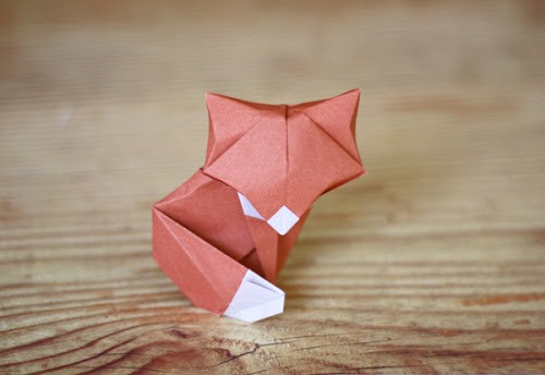 origami animals, origami fox, photo by HowAboutOrange