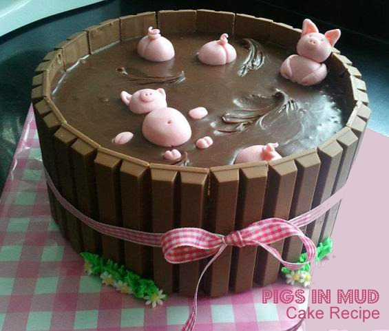 pigs in mud chocolate kit kat cake