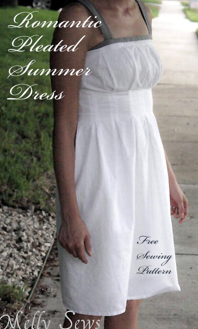 Pleated summer dress free sewing pattern