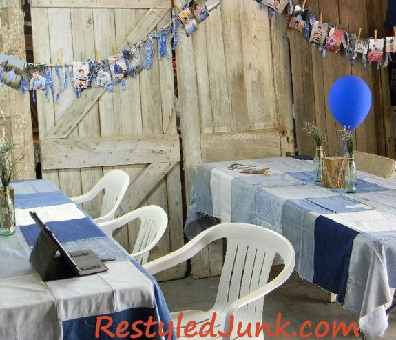 recycled denim tablecloths & cowboy garlands  :: FineCraftGuild.com