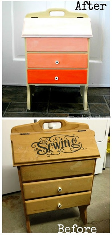 Orange Ombre Vintage Sewing Case Makeover--Before-After