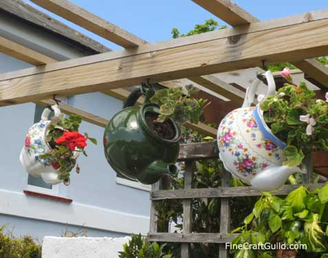 vertical  vegetable gardening with teapots