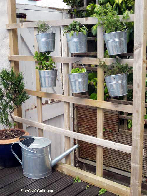 vertical herb garden with galvanized buckets :: FineCraftGuild.com