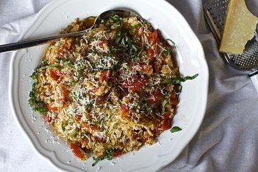 one pan farro tomatoes  recipe  :: summer recipes  :: FineCraftGuild.com