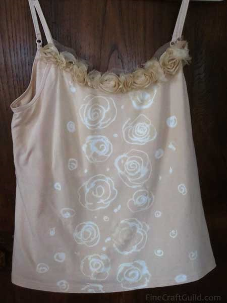 DIY Tshirt Makeover with Roses and Lace by FineCraftGuild.com