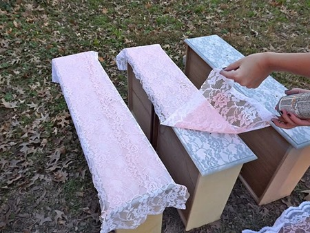 Recycled Furniture Lace Paint a Dresser