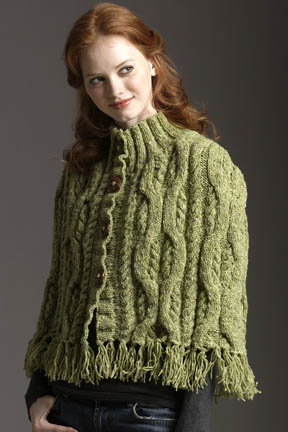 cabled cape fall cardigan free knitting pattern