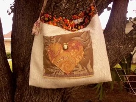 fall burlap tote bag heart