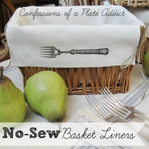 Pretty Kitchen Baskets w No-sew Liners