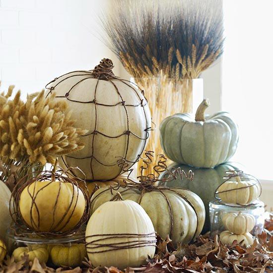 table centerpiece with pumpkins :: finecraftguild.com
