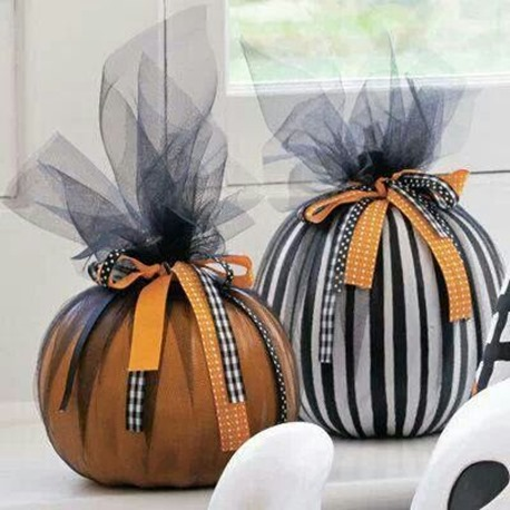 ribboned pumpkins